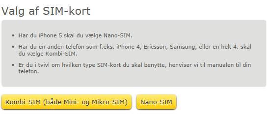Fullrate vælg SIM kort